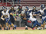 Lawndale, CA 10/07/16 - Hunter Williams (Lawndale #5), Benz Marylander (Santa Monica #26), Beto torre (Santa Monica #21) and Elijah Gonzalez (Santa Monica #54) in action during the CIF Bay League game between Santa Monica and Lawndale.