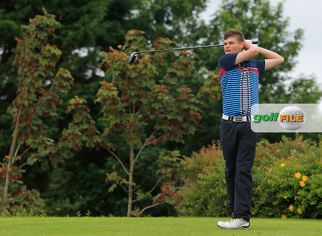 Luke O'Brien Jnr (Limerick) on the 18th tee during R1 of the 2016 Connacht U18 Boys Open, played at Galway Golf Club, Galway, Galway, Ireland. 05/07/2016. <br /> Picture: Thos Caffrey   Golffile<br /> <br /> All photos usage must carry mandatory copyright credit   (&copy; Golffile   Thos Caffrey)