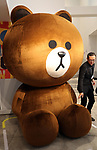"""April 27, 2017, Tokyo, Japan - Japan's SNS giant LINE's bear character """"Brown"""" is displayed at a pop-up cafe and character goods shop featuring LINE's famous characters in Tokyo on Thursday, April 27, 2017. The Shinjuku Box, run by Mitsukoshi Isetan Transit, will open cafes of Taiwan's ice dessert shop Ice Monster and US chocolate shop Max Brenner using LINE characters and LINE's character goods shop from April 28 near Shinjuku station.   (Photo by Yoshio Tsunoda/AFLO) LwX -ytd-"""