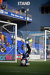 One of the home goalkeepers going through his pre-match warm-up routine before Ipswich Town play Oxford United in a SkyBet League One fixture at Portman Road. Both teams were in contention for promotion as the season entered its final months. The visitors won the match 1-0 through a 44th-minute Matty Taylor goal, watched by a crowd of 19,363.