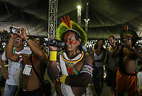 An indian of the Amazon tribe Kaiapo take video during meenting against deforestation of the Amazon forest even it that costs him his life, during the World Social Forum, on January 31, 2009 in Belem, in northern Brazil.