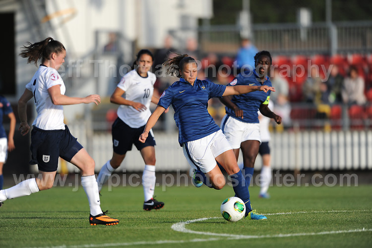 Natasha Jane Flint of England battles with Marine Dafeur of France during the UEFA Womens U19 Championships at Stebonheath Park, Llanelli  Monday 19th August 2013. All images are the copyright of Jeff Thomas Photography-www.jaypics.photoshelter.com-07837 386244-Any use of images must be authorised by the copyright owner.
