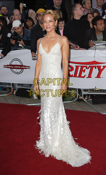 MARIA BELLO.National Movie Awards at the Royal Festival Hall, London, England. .September 8th, 2008.full length white silver sequined sequins beaded sparkly earrings long feathers maxi.CAP/ROS.©Steve Ross/Capital Pictures.