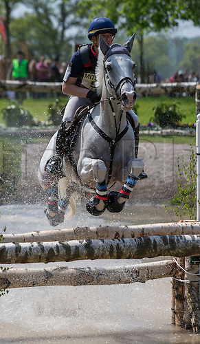 07.05.2016. Badminton House, Badminton, England. Mitsubishi Motors Badminton Horse Trials. Day Four. Camille Lejeune (FRA) riding 'R'du Temps Bliniere' during the cross country element of The Mitsubishi Motors Badminton Horse Trials.