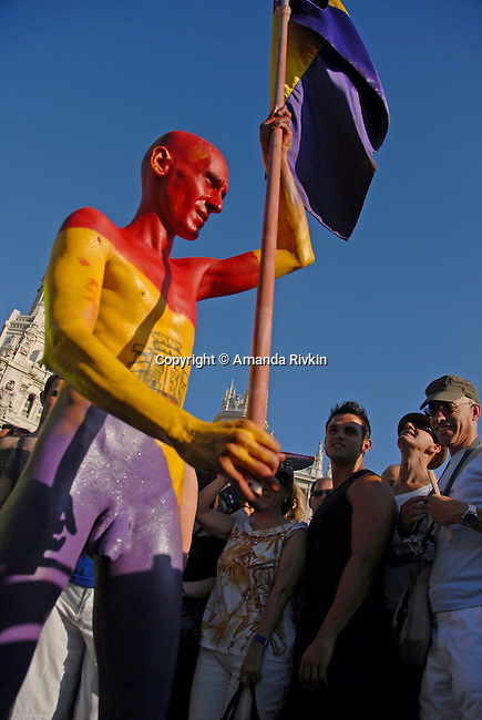A body-painted parade-goer in the Europride parade in Madrid, Spain on June 30, 2007.  Europride is Europe's largest annual celebration of the lesbian, gay, bisexual, and transgender, or LGBT, community.