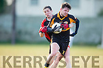 Stacks Shane Carroll and Kenmare's Shane Dalton in action at the Co League Div I Austin Stacks v Kenmare at Connolly Park on Saturday