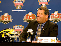 Michigan head coach Brady Hoke talks with the reporters during Head Coaches Press Conference at Marriott Hotel at the Convention Center on January 2nd, 2012.