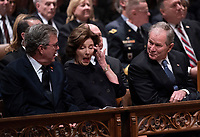 December 5, 2018 - Washington, DC, United States: former first lady Laura Bush wipes her eye during a moment of levity during the state funeral service of former President George W. Bush at the National Cathedral.  <br /> <br /> CAP/MPI/RS<br /> &copy;RS/MPI/Capital Pictures
