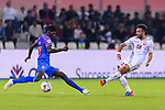 Rowllin Borges of India (L) fights for the ball with Jamal Rashed Abdulrahman of Bahrain (R) during the AFC Asian Cup UAE 2019 Group A match between India (IND) and Bahrain (BHR) at Sharjah Stadium on 14 January 2019 in Sharjah, United Arab Emirates. Photo by Marcio Rodrigo Machado / Power Sport Images