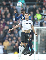 Blackburn Rovers Tosin Adarabioyo  jumps with Derby County's Chris Martin<br /> <br /> Photographer Mick Walker/CameraSport<br /> <br /> The EFL Sky Bet Championship - Derby County v Blackburn Rovers - Sunday 8th March 2020  - Pride Park - Derby<br /> <br /> World Copyright © 2020 CameraSport. All rights reserved. 43 Linden Ave. Countesthorpe. Leicester. England. LE8 5PG - Tel: +44 (0) 116 277 4147 - admin@camerasport.com - www.camerasport.com