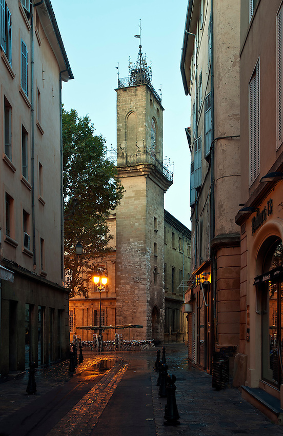 The clock tower, located in the Place de l'Hotel de Ville in Aix-en-Provence, Provence, France, at sunrise.