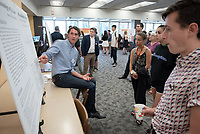 """A Chronology of U.S. Asset Price Bubbles, 1865-1929"" by Nelson Rayl<br /> (Mentor: Andrew Jalil, Economics)<br /> Occidental College's Undergraduate Research Center hosts their annual Summer Research Conference, Aug. 1, 2018. Student researchers presented their work as either oral or poster presentations at the final conference. The program lasts 10 weeks and involves independent research in all departments.<br /> (Photo by Marc Campos, Occidental College Photographer)"