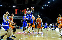 Leon Henry lays a shot up during the national basketball league final  between Wellington Saints and Southland Sharks at TSB Bank Arena in Wellington, New Zealand on Sunday, 5 August 2018. Photo: Dave Lintott / lintottphoto.co.nz