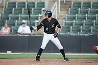 Jameson Fisher (11) of the Kannapolis Intimidators at bat against the Hagerstown Suns at Kannapolis Intimidators Stadium on June 15, 2017 in Kannapolis, North Carolina.  The Intimidators walked-off the Suns 5-4 in game one of a double-header.  (Brian Westerholt/Four Seam Images)