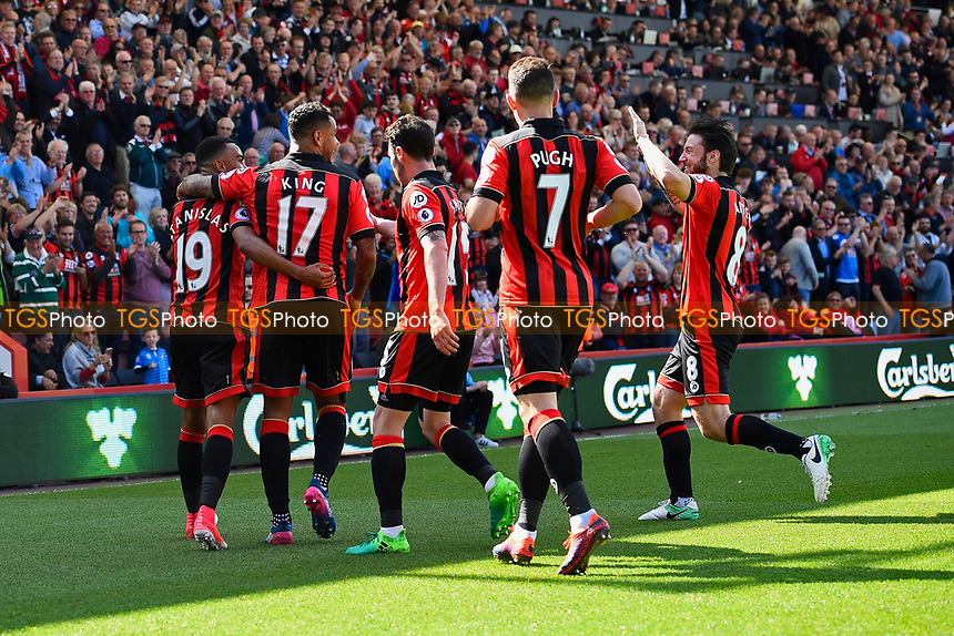 AFC Bournemouth players celebrate the goal scored by Junior Stanislas of AFC Bournemouth left during AFC Bournemouth vs Burnley, Premier League Football at the Vitality Stadium on 13th May 2017