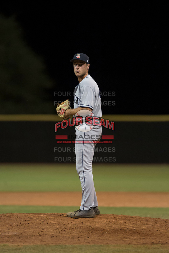 AZL Padres 1 relief pitcher Reiss Knehr (48) prepares to deliver a pitch during an Arizona League game against the AZL Padres 2 at Peoria Sports Complex on July 14, 2018 in Peoria, Arizona. The AZL Padres 1 defeated the AZL Padres 2 4-0. (Zachary Lucy/Four Seam Images)