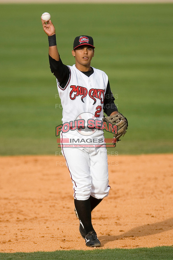 Shortstop Jose Castro #2 of the Carolina Mudcats at Five County Stadium May 18, 2009 in Zebulon, North Carolina. (Photo by Brian Westerholt / Four Seam Images)