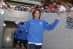 U.S.'s Frankie Hejduk slaps hands with fans as he takes the field on Tuesday, April 11th, 2006 at SAS Stadium in Cary, North Carolina. The United States Men's National Team tied Jamaica 1-1 in a men's international friendly.