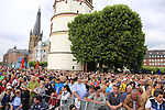 Fans at the Team Presentation in Burgplatz Dusseldorf before the 104th edition of the Tour de France 2017, Dusseldorf, Germany. 29th June 2017.<br /> Picture: Eoin Clarke | Cyclefile<br /> <br /> <br /> All photos usage must carry mandatory copyright credit (&copy; Cyclefile | Eoin Clarke)