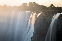 The last rays of sun light striking the famous Victoria Water Falls