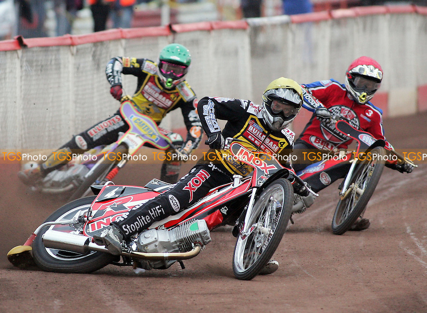 Heat 3 - Risager (yellow), Shields (red), Schlein - Lakeside Hammers vs Coventry Bees - Elite League Speedway at Arena Essex - 06/06/07 - MANDATORY CREDIT: Gavin Ellis/TGSPHOTO - SELF-BILLING APPLIES WHERE APPROPRIATE. NO UNPAID USE -  Tel: 0845 0946026
