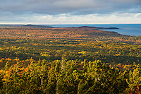 Fall color views from atop Hogback Mountain near Marquette, Michigan on Michigan's Upper Peninsula.