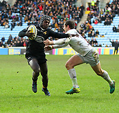 January 7th 2018, Ricoh Arena, Coventry, England;  Aviva Premiership rugby, Wasps versus Saracens; Christian Wade (Wasps) makes a break in the 38th minute that leads to Willie Le Roux try during the Aviva Premiership (Round 13) match between Wasps and Saracens rfc at the Ricoh Stadium