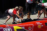 Lori Spitler runs a camera on the starting dock.    (Formula 1/F1/Champ class)