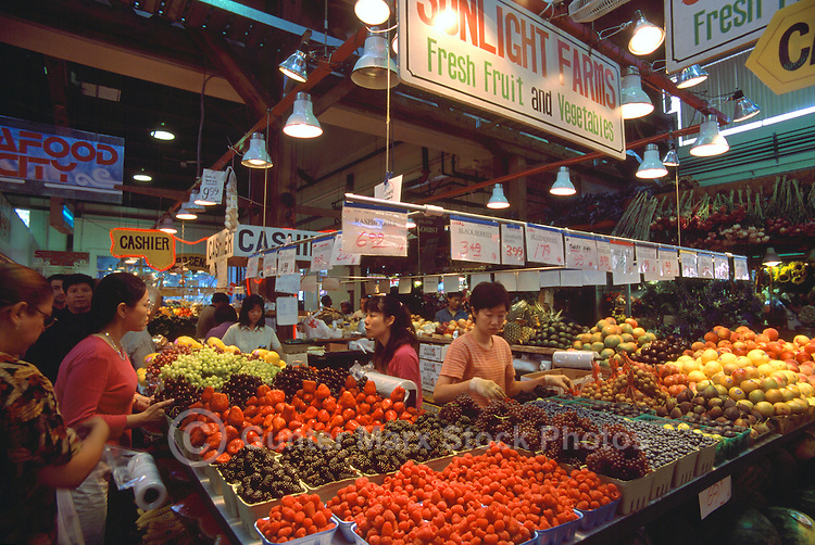 Granville Island Public Market, Vancouver, BC, British Columbia, Canada - Fresh Fruit and Vegetables for Sale at Farmer's Stall