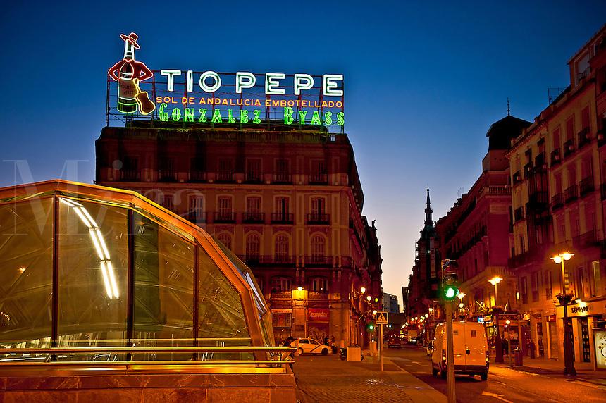 Puerta del Sol nightlife, Madrid, Spain