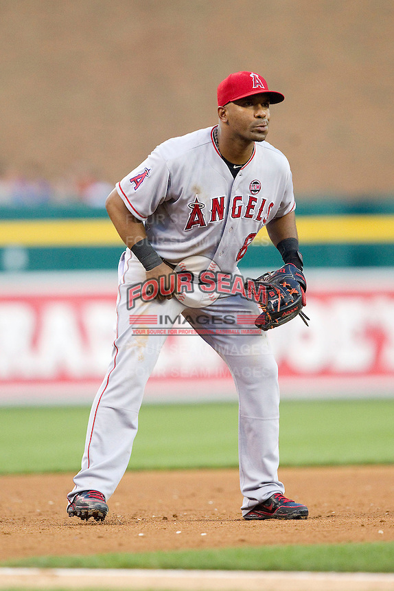 Los Angeles Angels third baseman Alberto Callaspo (6) on defense against the Detroit Tigers at Comerica Park on June 25, 2013 in Detroit, Michigan.  The Angels defeated the Tigers 14-8.  (Brian Westerholt/Four Seam Images)