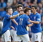 Lewis Macleod is congratulated on his goal