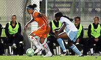 Sky Blue's Natasha Kai (6) protects the ball from Chicago's Ifeoma Dieke (4).  Sky Blue defeated the Chicago Red Stars 1-0 in a mid-week game, Wednesday, June 17, at Yurcak Field.