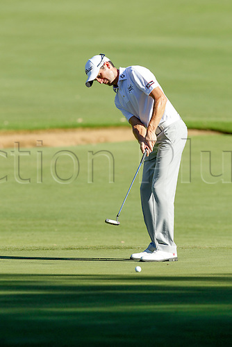 27.02.2016. Perth, Australia. ISPS HANDA Perth International Golf. Gregory Bourdy (FRA) putts on the second green during day 3.
