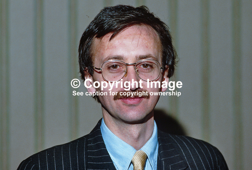 Ted Smyth, Press Attache, Irish Embassy, London, UK, 19850412TS..Copyright Image from Victor Patterson, 54 Dorchester Park, Belfast, UK, BT9 6RJ..Tel: +44 28 9066 1296.Mob: +44 7802 353836.Voicemail +44 20 8816 7153.Skype: victorpattersonbelfast.Email: victorpatterson@mac.com.Email: victorpatterson@ireland.com (back-up)..IMPORTANT: If you wish to use this image or any other of my images please go to www.victorpatterson.com and click on the Terms & Conditions. Then contact me by email or phone with the reference number(s) of the image(s) concerned.