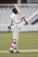 Haseeb Hameed of Lancashire CCC acknowledges his half century during Middlesex CCC vs Lancashire CCC, Specsavers County Championship Division 2 Cricket at Lord's Cricket Ground on 12th April 2019