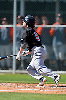 Mercer Bears outfielder Nate Moorhouse #2 hits a home run during a game against the Notre Dame Fighting Irish at the Buck O'Neil Complex on February 17, 2013 in Sarasota, Florida.  Mercer defeated Notre Dame 5-4.  (Mike Janes/Four Seam Images)