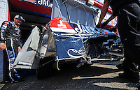 Oct 3, 2008; Talladega, AL, USA; NASCAR Sprint Cup Series driver Clint Bowyer surveys the damage to his car following a crash during practice for the Amp Energy 500 at the Talladega Superspeedway. Mandatory Credit: Mark J. Rebilas-