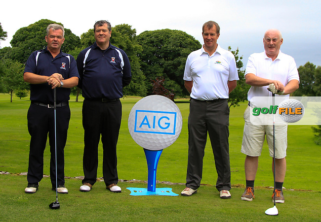 Stephen Munnelly &amp; Paul Doyle (Castlebar) and Brian McCormack &amp; John Wims (Enniscrone) on the 1st tee during the AIG Connacht Pierce Purcell Shield Semi-Finals of the AIG Connacht Cups &amp; Shields Finals 2016 at Ballinrobe Golf Club, Ballinrobe Co. Mayo on Saturday 6th August 2016.<br /> Picture:  Golffile | Thos Caffrey<br /> <br /> All photos usage must carry mandatory copyright credit   (&copy; Golffile | Thos Caffrey)