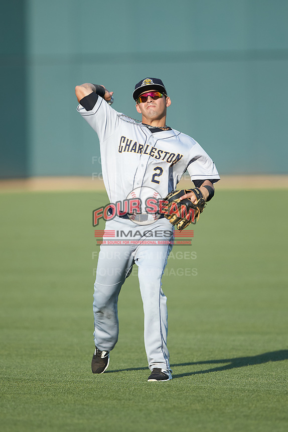 Angel Aguilar (2) of the Charleston RiverDogs warms up in the outfield prior to the game against the Columbia Fireflies at Spirit Communications Park on June 9, 2017 in Columbia, South Carolina.  The Fireflies defeated the RiverDogs 3-1.  (Brian Westerholt/Four Seam Images)