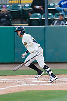 Visalia Rawhide first baseman Mark Karaviotis (24) during a California League game against the Rancho Cucamonga Quakes on April 9, 2019 in Visalia, California. Visalia defeated Rancho Cucamonga 8-5. (Zachary Lucy/Four Seam Images)