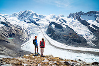 Standing near the Gornergrat looking out at the glaciers coming off the Monte Rosa, Zermatt, Switzerland.