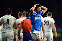 Tommaso Allan of Italy looks on dejected. Guinness Six Nations match between England and Italy on March 9, 2019 at Twickenham Stadium in London, England. Photo by: Patrick Khachfe / Onside Images