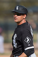 Chicago White Sox coach Omar Vizquel (13) during a Minor League Spring Training game against the Chicago White Sox at Camelback Ranch on March 16, 2018 in Glendale, Arizona. (Zachary Lucy/Four Seam Images)