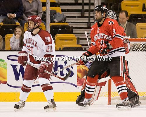 Alex Meintel (Harvard - 21), Jacques Perreault (NU - 9) - The Northeastern University Huskies defeated the Harvard University Crimson 3-1 in the Beanpot consolation game on Monday, February 12, 2007, at TD Banknorth Garden in Boston, Massachusetts.