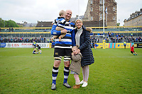 Matt Garvey of Bath Rugby poses for a photo with his family after the match. Aviva Premiership match, between Bath Rugby and Gloucester Rugby on April 30, 2017 at the Recreation Ground in Bath, England. Photo by: Patrick Khachfe / Onside Images