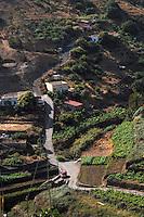 Narrow country lane, Vallehermosa La Gomera, Canary Islands. Spain.