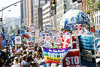 Protesters march toward Madison Square Garden during the United for Peace and Justice march in New York City on August 29, 2004.  The protest against the Bush administration in general (and its decision to hold the Republican National Convention in NYC) was one of the largest in the city's history, drawing an estimated  500,000 people.