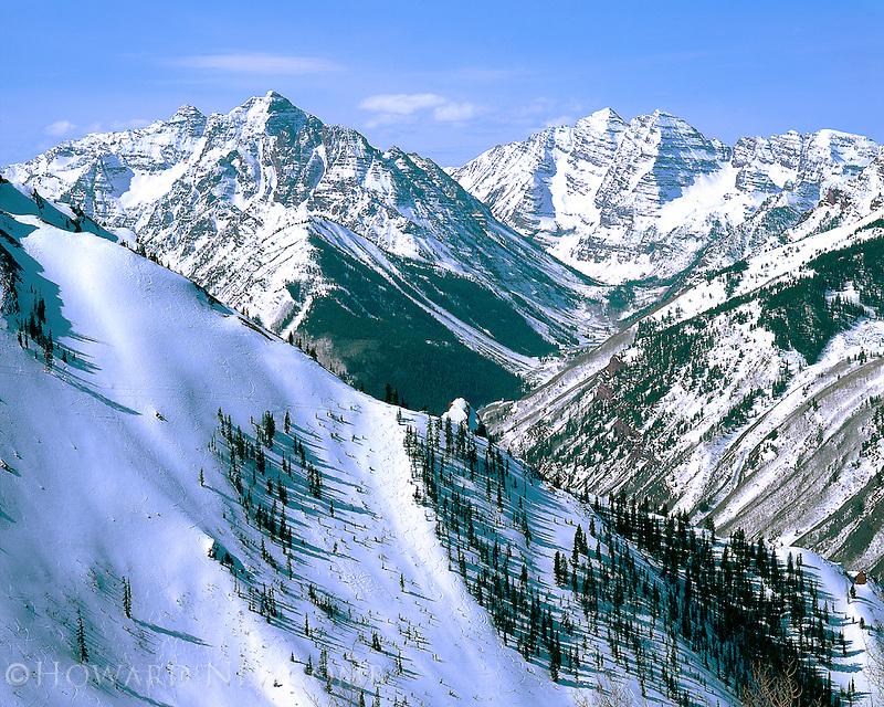 Winter view of Pyramid Peak and the Maroon Bells, near Aspen, Colorado