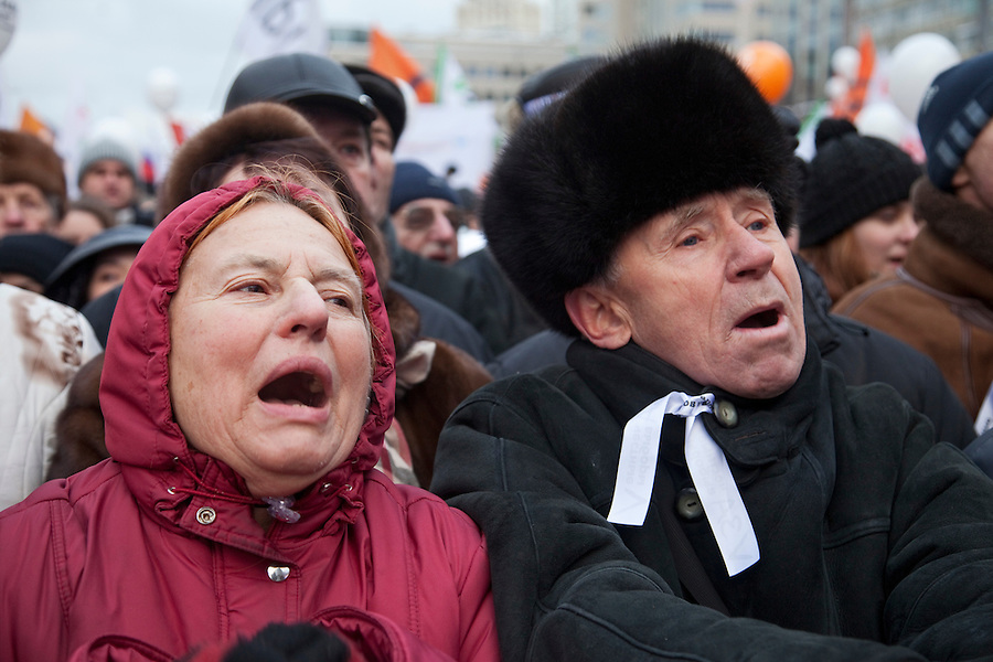 "Moscow, Russia, 24/12/2011..Protestors chant ""Russia without Putin"" as an estimated crowd of up to 100,000 gathered to protest against election fraud and Prime Minister Vladimir Putin in the largest anti-government demonstration in Russia since the collapse of the Soviet Union."